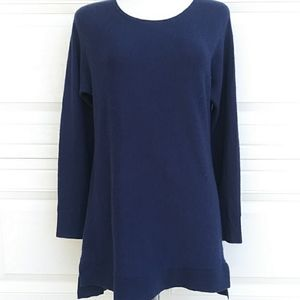 Halogen Cashmere Blend Tunoc Sweater Blue